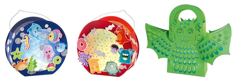 Papier-Laternen-Sets: Monster, Unterwasser und Leuchttasche Drache