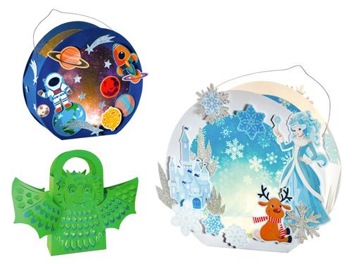 Papier-Laternen-Sets: Eiskönigin, Weltraum und Leuchttaschen