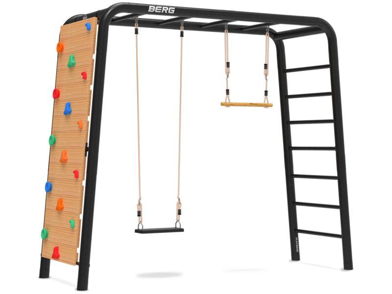 BERG PlayBase Medium TL inkl. Schaukelsitz aus Gummi, Trapez und Kletterwand