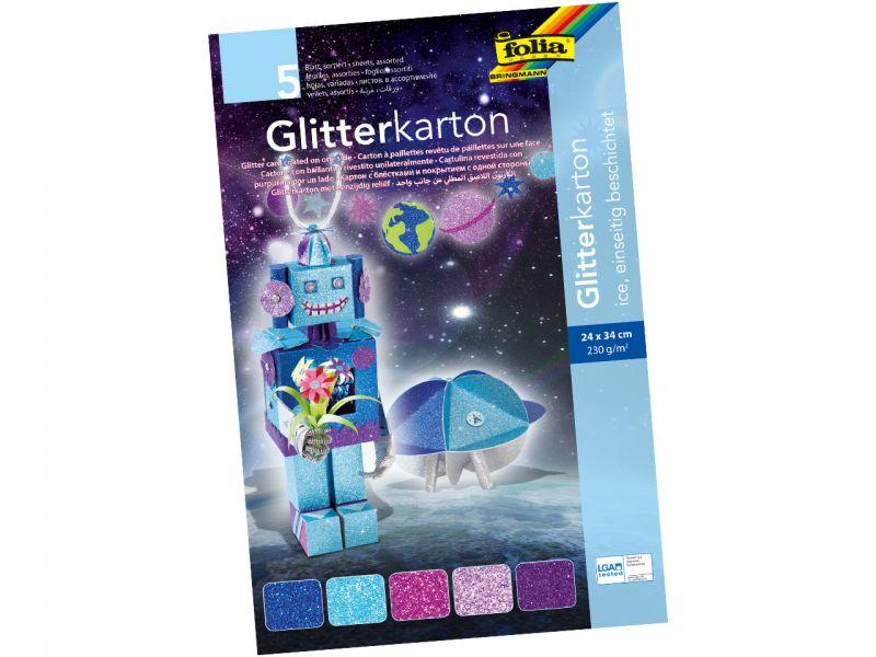Folia Glitterkarton Ice, 5 Blatt