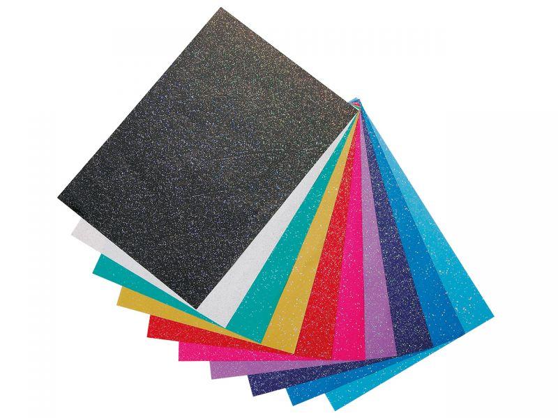 Glitterpapier, 23 x 33 cm, 10 Farben sortiert