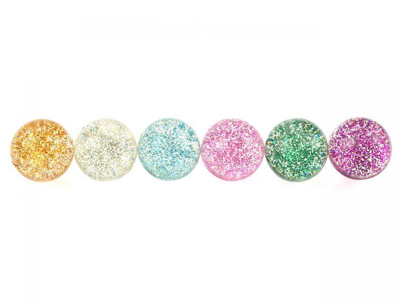 Spielheld Glitter-Flummi, 6er-Set