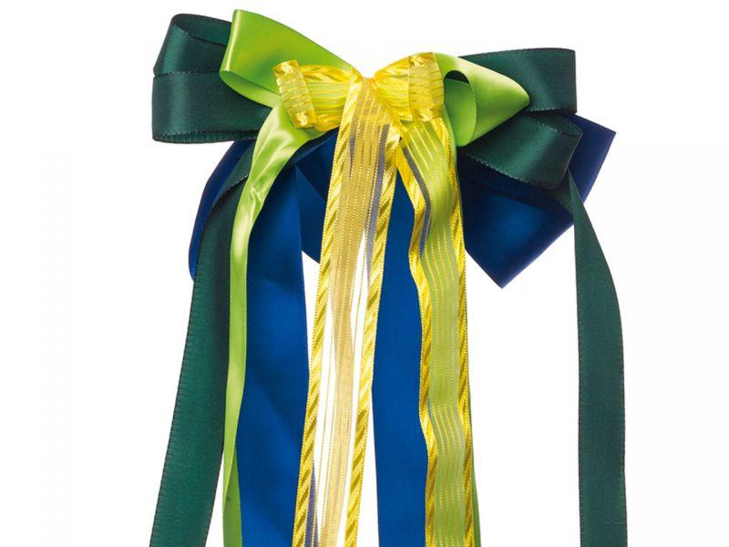 Schultüten-Schleife, Blau/Grün/Gelb