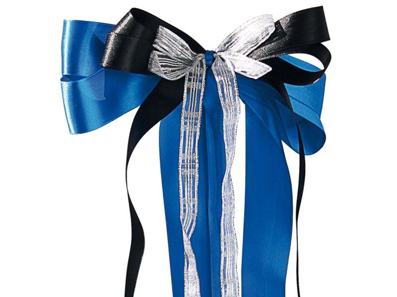 Schultüten-Schleife, Blau / Schwarz / Silber