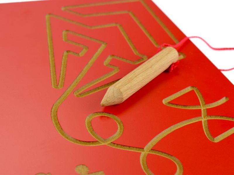 Grafomotorische-Tafel Drachen, rot