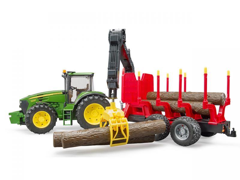 BRUDER JD 7930 mit Rückeanhänger und 4 Baumstämmen