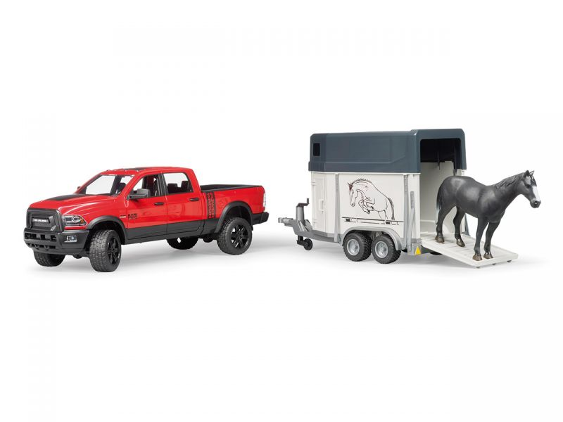 BRUDER RAM 2500 mit Pferdeanhänger und 1 Pferd