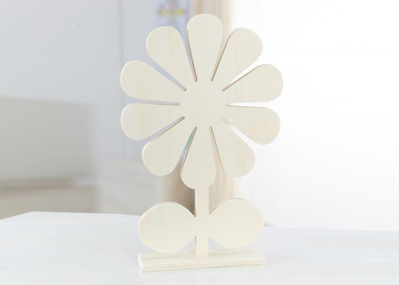 XL Holzdeko »Blume«, natur, 32 cm hoch