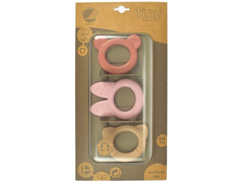 dantoy tiny BIO Beißring, hart, rosa, 3er-Set