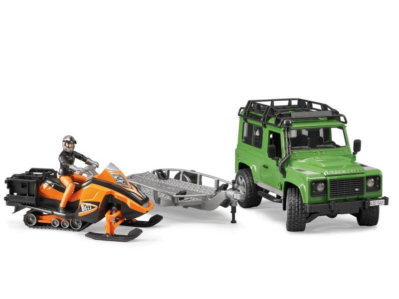 BRUDER »Land Rover Defender Station Wagon, Anhänger, Snowmobil und Fahrer«