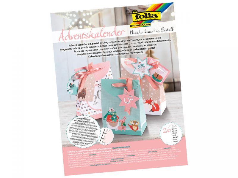 Folia Adventskalender-Set Geschenketaschen, Pastell