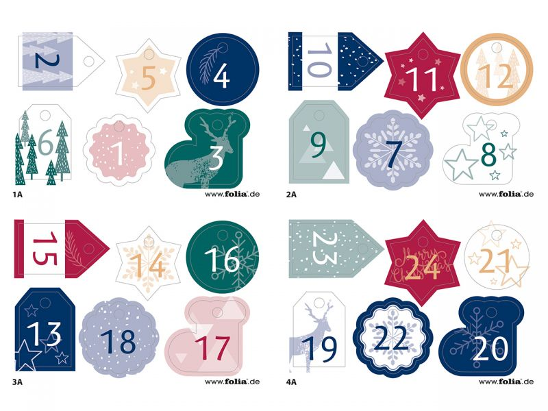 Folia Adventskalender-Set Basic, 49-tlg.