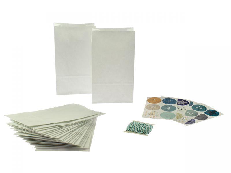 Adventskalender-Set Papiertüten, weiß