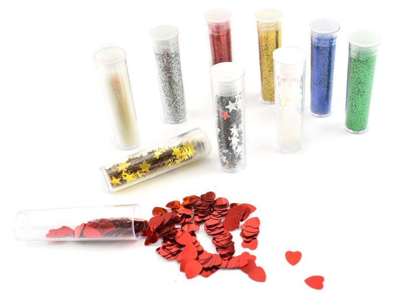 Glitter-Set Farben & Formen, 10 Tuben inkl. Kleber
