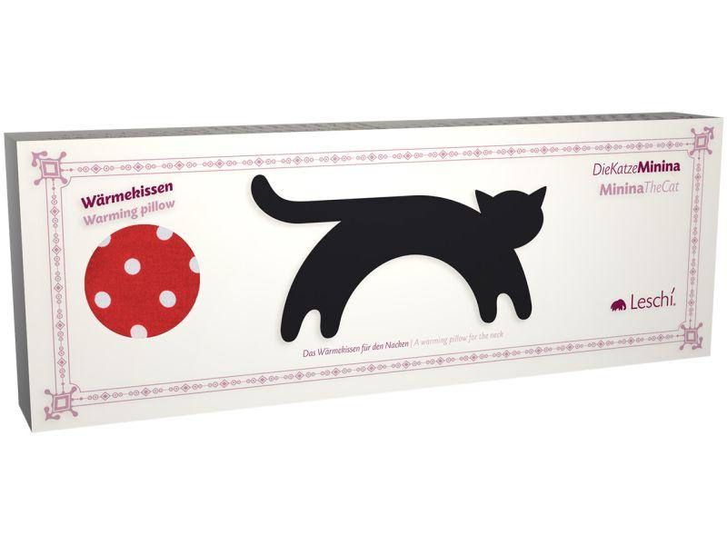 Leschi Wärmekissen »Die Katze Minina« stehend groß, Polka dot rot/Mitternacht