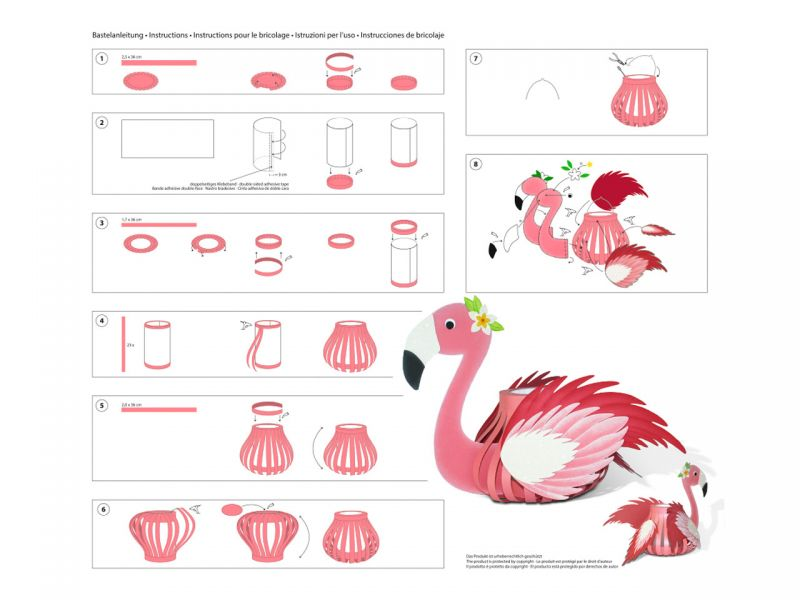laternen bastelset 3d streifen flamingo spielheld. Black Bedroom Furniture Sets. Home Design Ideas