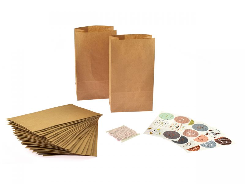 Folia Adventskalender-Set Papiertüten, natur