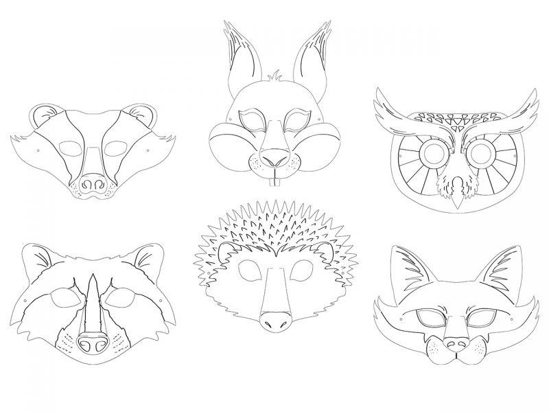Tiermasken Waldtiere, 6er-Set