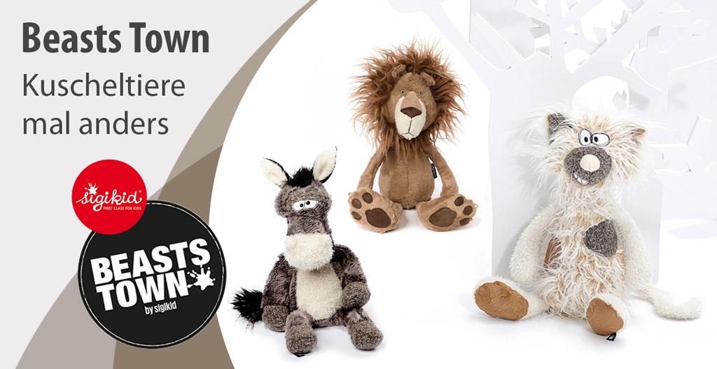 Die Beasts von sigikid sind Kuscheltiere mit Charakter. Katze, Löwe und Esel sitzen mit mitleidseregendem Blick da und warten auf dich!